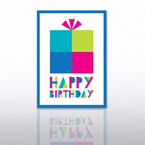 Block Present Happy Birthday Greeting Card