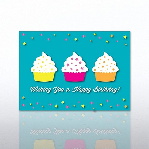 Wishing you a Happy Birthday-Cupcakes Greeting Card