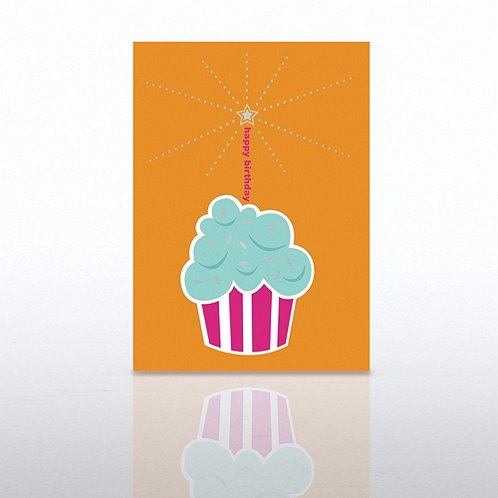 Cupcake Word Candle Happy Birthday Greeting Card