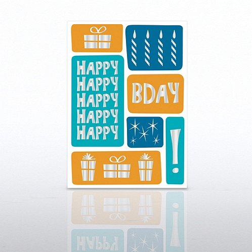 Color Blocks Happy Birthday Greeting Card