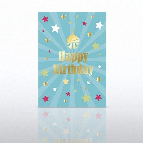 Cupcake Star Burst Happy Birthday Greeting Card