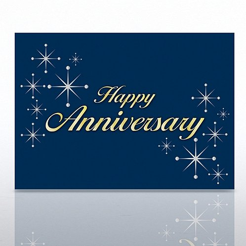 Silver Stars Happy Anniversary Greeting Card