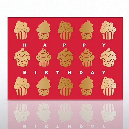 Gold Cupcakes Happy Birthday Greeting Card