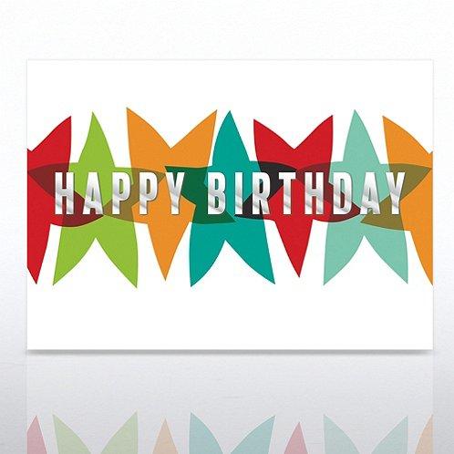 Multi-Color Stars Happy Birthday Greeting Card