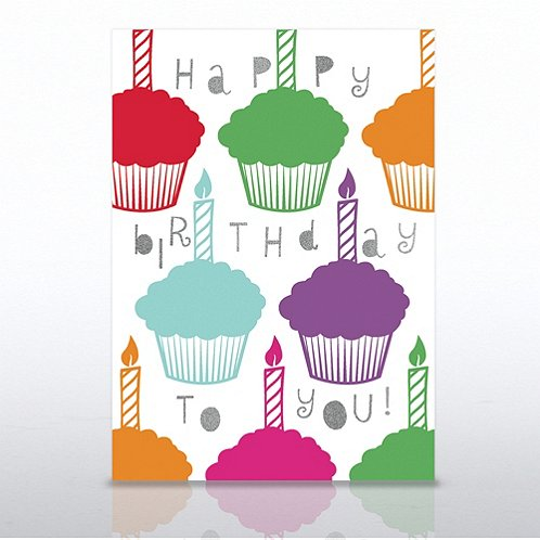 Candle Cupcakes Happy Birthday Greeting Card