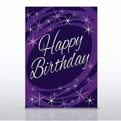 Purple Cosmic Happy Birthday Greeting Card