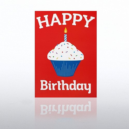 Cup Cake Red Happy Birthday Greeting Card