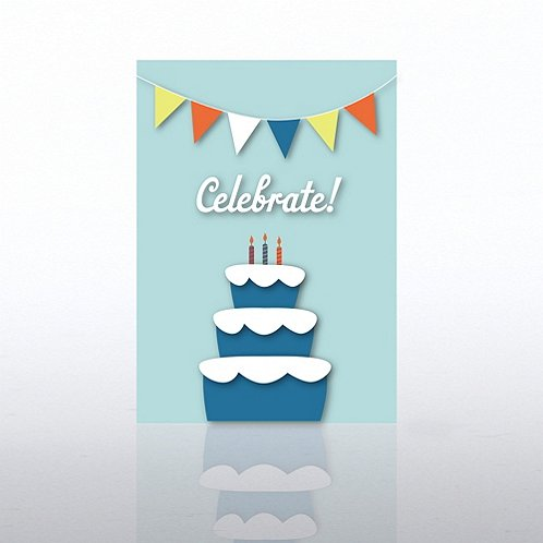 Celebrate Banner with Cake Greeting Card
