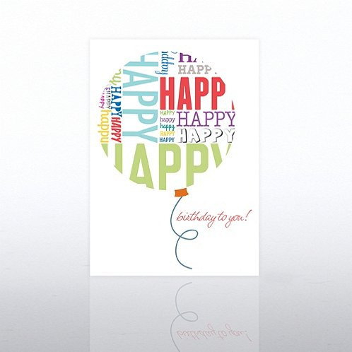Word Balloon Happy Birthday Greeting Card
