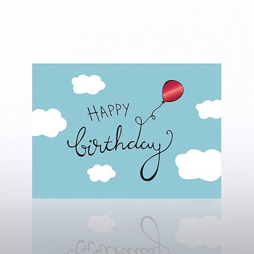 Balloon in Clouds Happy Birthday Greeting Card