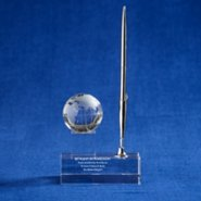 Crystal Trophy - Desktop Globe with Pen