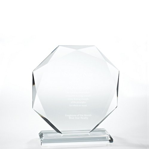 Large Round Beveled Edge Black Accent Crystal Trophy