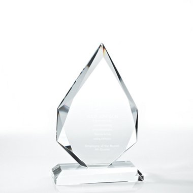 Beveled Edge Crystal Flame Trophy - Diamond