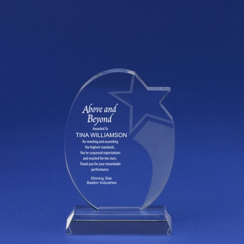 Etched Round Shooting Star Crystal Trophy
