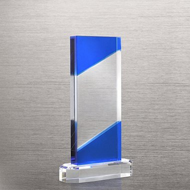 Crystal Dark Blue Accent Trophy - Rectangle
