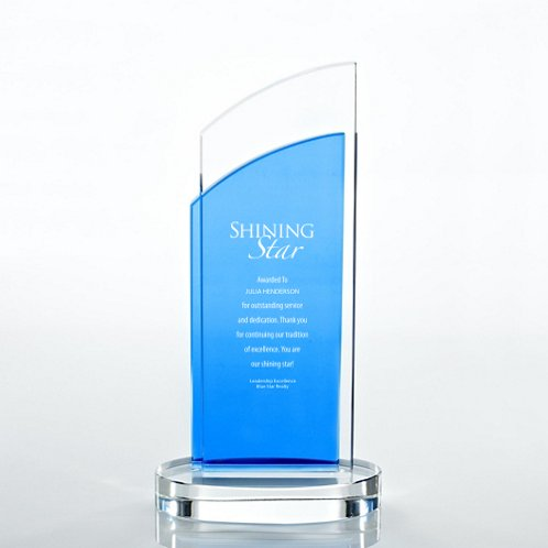 Double Pane Light Blue Accent Crystal Trophy
