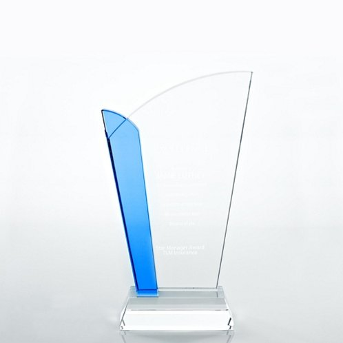 Straight Edge Light Blue Accent Crystal Trophy