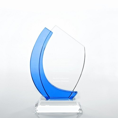 Curved Edge Light Blue Accent Crystal Trophy
