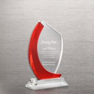 Crystal Light Red Accent Trophy - Curved Edge