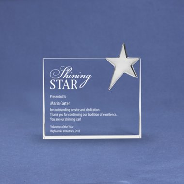 Silver Star Accent Trophy - Rectangle