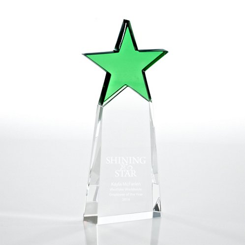 Emerald Star Pinnacle Crystal Trophy
