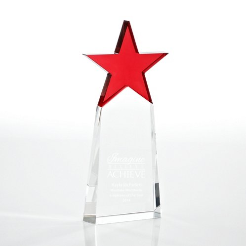 Red Star Pinnacle Crystal Trophy