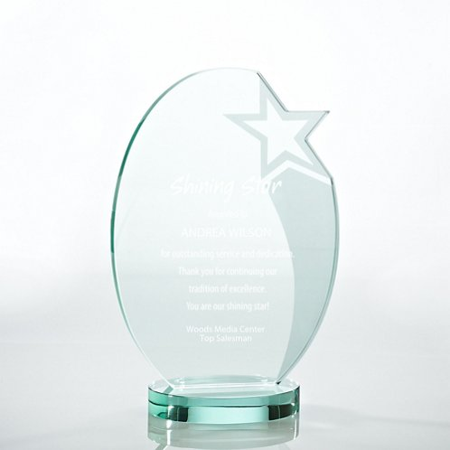 Etched Oval Star Premium Jade Trophy