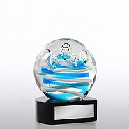 Art Glass Teal Droplets Trophy