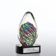 Art Glass Colorful Swirls Trophy
