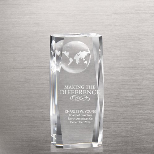 Globe Beveled-Edge Impression Trophy