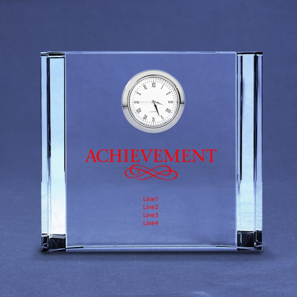 Medium Silver Accent Crystal Award Clock