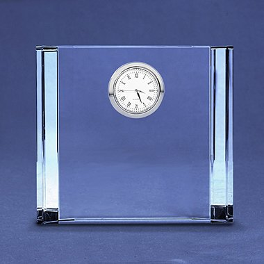 Silver Accent Crystal Award Clock - Medium