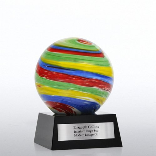 Rainbow Sphere Art Glass Trophy