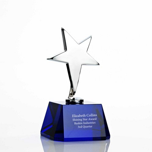 Blue Silver Star Accent Trophy with Crystal Base