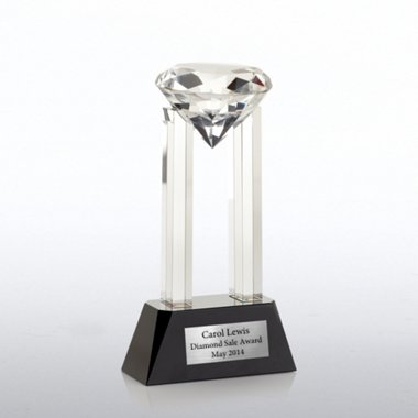Elite Black Accent Crystal Trophy - Gem