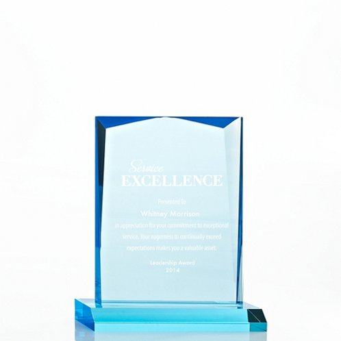 Sky Blue Beveled Rectangle Acrylic Trophy