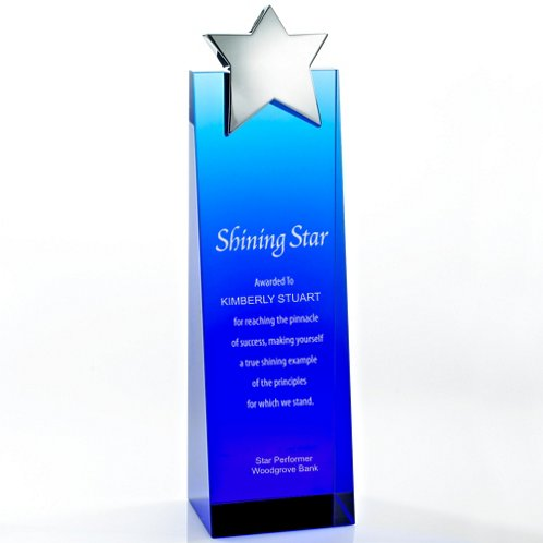 Blue Star Crystalline Tower Trophy