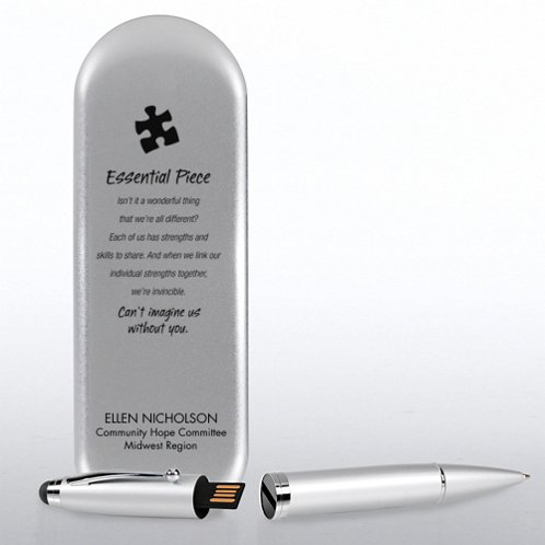 Silver USB Pen with Tin