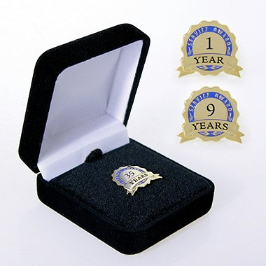 Anniversary Lapel Pin - Service Award Blue Ribbon Blue