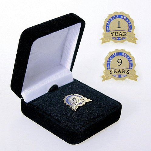 Blue Service Award Ribbon Anniversary Lapel Pin