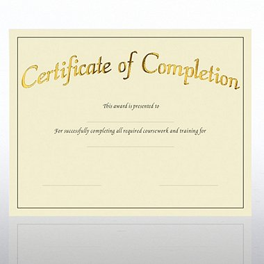 Certificate Paper - Preprinted - Completion - Cream
