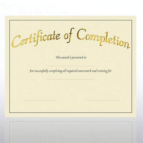 Preprinted Completion Cream Certificate Paper