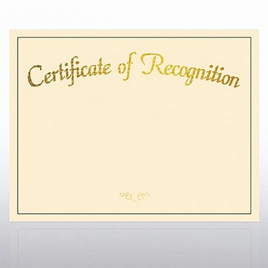 Foil Certificate Paper - Certificate of Recognition - Cream