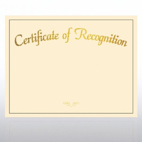 Certificate Of Recognition Foil Cream Certificate Paper At