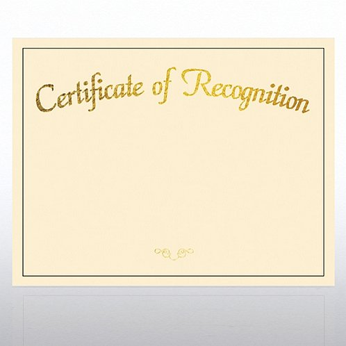 Certificate of Recognition Foil Cream Certificate Paper