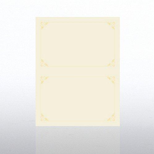 Ornament Half-Size Foil Cream Certificate Paper