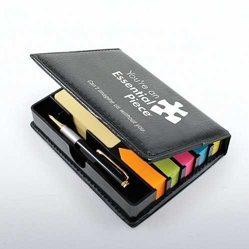 Essential Piece Flip Top Note Holder w/ Pen & Calendar