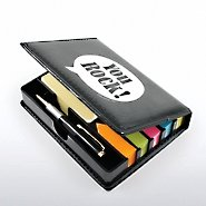 Flip Top Sticky Note Holder w/ Pen & Cal - Positive Praise