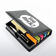 Flip Top Sticky Note Holder w/ Pen & Cal - Positive Praise
