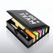 Flip Top Sticky Note Holder w/ Pen & Calendar - Go Team
